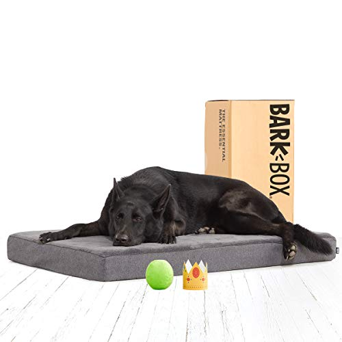 BarkBox Memory Foam Platform Dog Bed | Plush Mattress for Orthopedic Joint Relief | Machine Washable Cuddler with Removable Cover and Waterproof Lining | Includes Squeaker Toy | Grey | XL