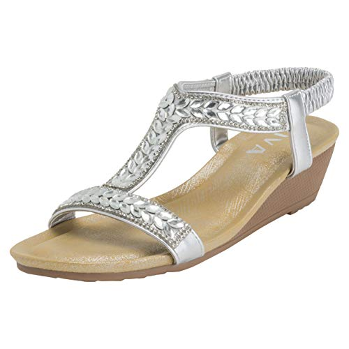 VIVASHOES Sandalen met open neus voor dames, sleehak met sleehak - Zilver - UK7 / EU40 - KL0425
