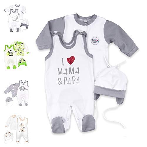Baby Sweets Unisex 3er Baby-Set mit Strampler, Shirt & Mütze für Jungen und Mädchen in Weiß Grau/Baby-Erstausstattung als Strampler-Set im Design I Love Mama & Papa in der Größe: 56 (Newborn)