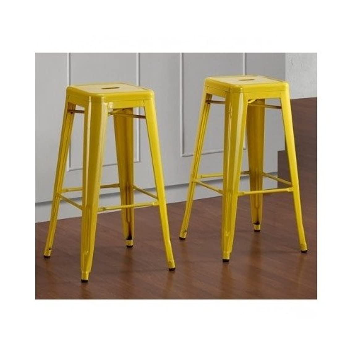 Beautiful Many Colors to Pick From Tabouret 30-inch Contemporary Metal Barstools (Set of 2) Includes Scented Candle Tarts (yellow)