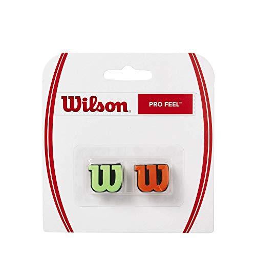 Wilson Logo-Vibrationsdämpfer für Tennisschläger, Pro Feel, 2er Pack, grün/orange, WRZ538700