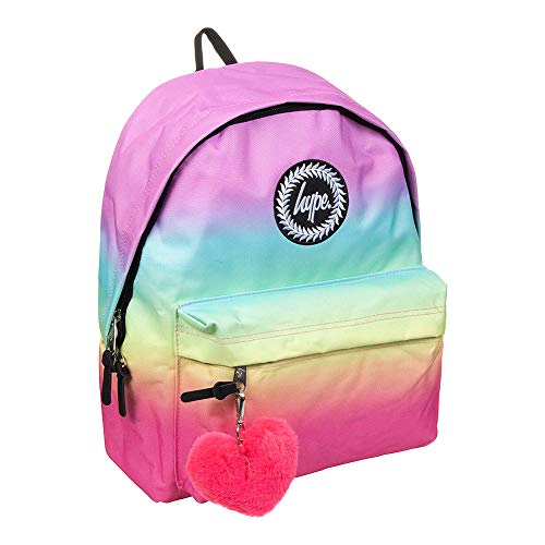 Hype Pastel Rainbow Fade Heart POM POM Backpack
