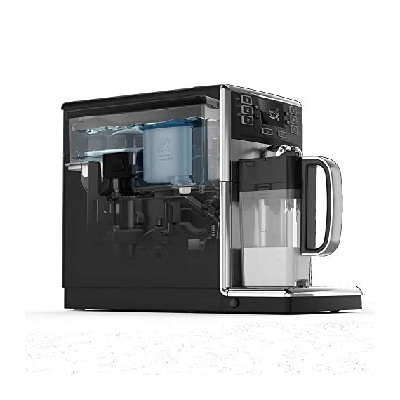 Saeco picobaristo super automatic espresso machine, countertop, piano black, hd8927/37 3 the largest variety from a compact machine: brews 11 coffee varieties enjoy up to 5, 000 cups of coffee without descaling delicious hot cappuccino and latte macchiato at one touch
