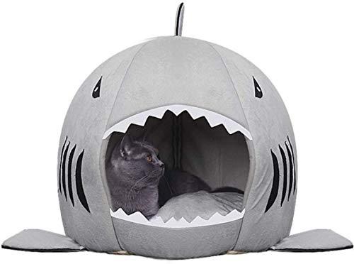 QIANMOYE Pet bedShark Cat House Pet Soft Bed Basket Dog Cushion Cute Katten Tent Small Medium Puppy Sleeping Bed Warm nicole (Size : M-48 * 48cm)