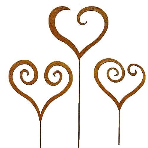 Gartenstecker Set Herzen 3 x 60cm Metall Rost Gartendeko Edelrost rostige Deko geschwungen