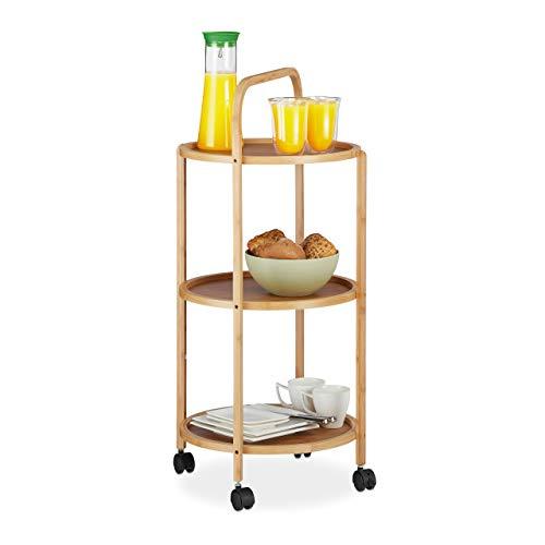Relaxdays Servierwagen Bambus, rund, 3 Ablagen, geräuscharme Rollen mit Bremsen, Küchenwagen H x D: 87 x 42 cm, natur