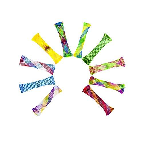 10 Stück Multicolor Fidget Toys Geflochtenes Mesh Tube Toy Mesh und Marmor Fidget...