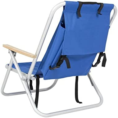 Beach Chair-Backpack Beach Chair Folding Portable Chair Blue Solid Construction Camping-Patio Chairs--Color Blue-Patio Furnit