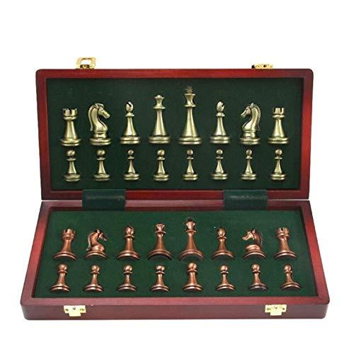 Schachspiel Metallschach Bronze | Bronze Schach Professionelles Dreidimensionales Schach, Geeignet Für Schachliebhaber Jeden Alters (12x12 Zoll)