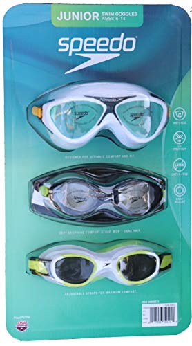 Speedo 3 Pack Junior Swimming Goggles Ages 6-14 UV Protection Latex Free (White/Black/White)