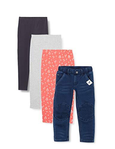 Amazon-Marke: RED WAGON Mädchen Leggings mit Print, 4er-Pack, Mehrfarbig (Space/Flamingo), 104, Label:4 Years