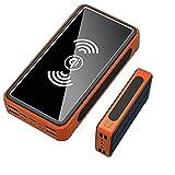 LIMIAO Chargeur Portable Haute Capacité 100000Mah Chargeur Solaire Power Bank 4 Sorties 2 Entrées Charge Rapide Batterie Externe, pour Ipad Iphone Samsung Google,Orange
