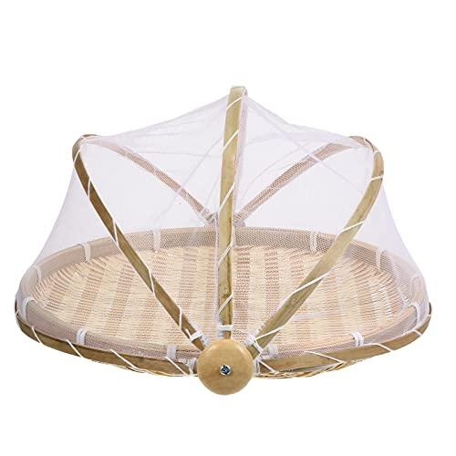 IMIKEYA Food Serving Tent Basket Bug Proof Weaving Basket Rustic Wooden Woven Bread Basket Fruit Basket Food Container Brown