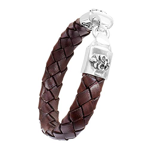 Elfcraft Lederarmband Herren Armband Braun Verschluss Echt Silber 925 Geflochtenes Band Lilien Ornament Made in Germany - LIL22400113-BR
