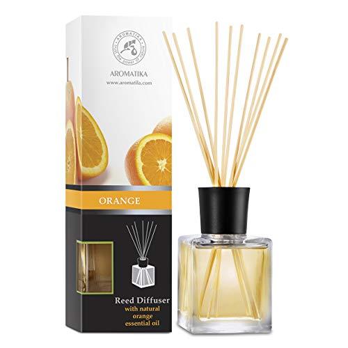 Aromatika Raumduft Reed Diffuser 200ml mit Orange Öl - Intensiv und Langanhaltend Duft - ohne Alkohol - Bester Raumlufterfrischer für Aromatherapie - Zuhause - Küche - Natural Orange Essential Oil