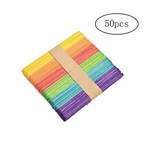 Newin Star 50 Stück Holz Popsicle Sticks Natural Wood Sticks Bunte hausgemachte Eiscreme-Stick Ideal für Handwerk DIY Dessert Herstellung
