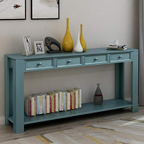 """P PURLOVE Console Table for Entryway Hallway Easy Assembly 64"""" Long Sofa Table with Drawers and Bottom Shelf (64"""", Dark Blue)"""