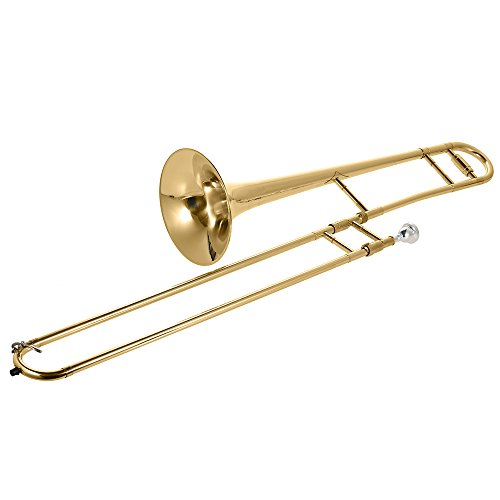 ammoon Trombone Alto Oro de Latón Laca Bb Tono B Plano Instrumento de Viento con Cupronickel Boquilla Palillo de Limpieza Caso