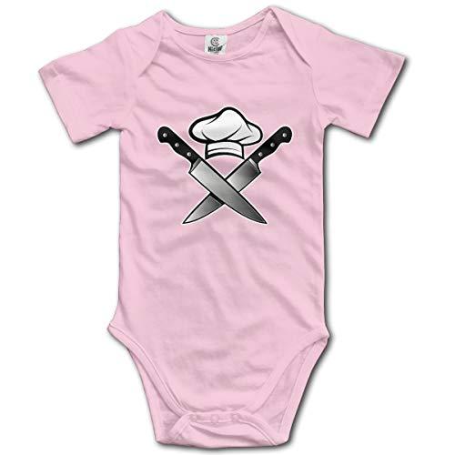 Abigails Home Kochmütze Messer Neugeborenen Kinder Baby Strampler Kurzarm Kleinkinder Overall (2 T, Pink)