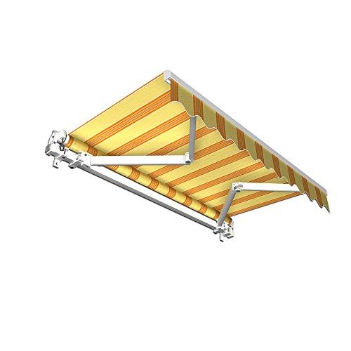 paramondo Gelenkarmmarkise Basic Balkonmarkise Sichtschutz für Terrasse, 250 x 150 cm (Breite x Ausfall), Gelb-Orange Multistreifen
