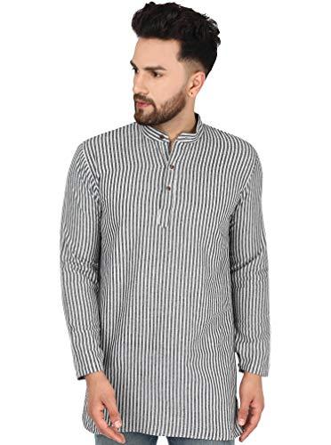 SKAVIJ Herren Tunika Kurta Hemd Kleidung Rundhals (Schwarzer Streifen, M)