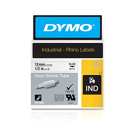 """DYMO Authentic Industrial Heat Shrink Tubes for LabelWriter and Industrial Label Makers, Black on White, 1/2"""", (18055)"""