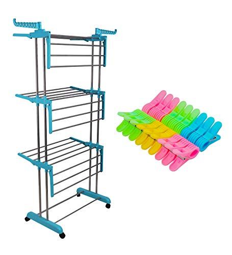 LivingBasics® Heavy Duty Rust free Double Pole Clothes Drying Racks with Wheels for Indoor/Outdoor/Balcony