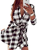 FANCYINN Women Long Sleeve Plaid Pattern Tunic Tops Shirt Casual Spring Dress White M