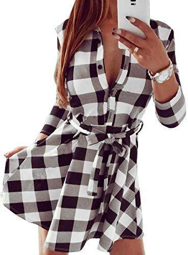 Fancyinn Camisa a Cuadros de Manga Larga, túnica, Tops, Camisa, Vestido Informal, Blanco XL