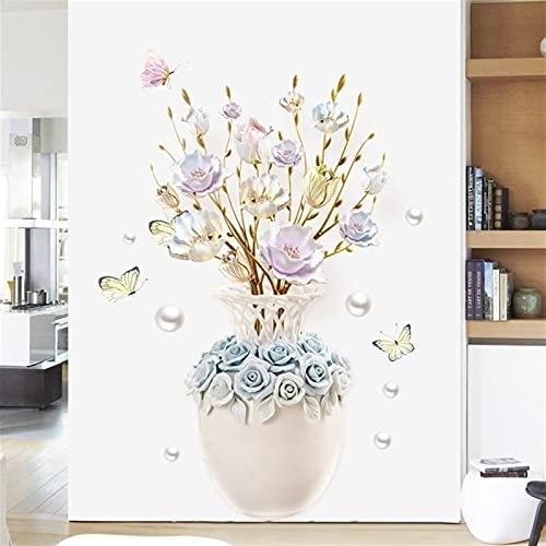 ABCABC Jarrón Flor Pegatinas de Pared Dormitorio Sala de Estar Porche Pared decoración Vinilo Decorativo Papel Tapiz Cartel Bricolaje Decoración del hogar Arts Mural (Color : 100x70cm, Size : Large)