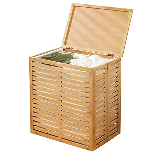 mDesign Organizador de ropa sucia de bambú – Cesta de ropa sucia con bolsa extraíble – Bolsa plegable portátil para el cuarto de baño o el dormitorio – color bambú