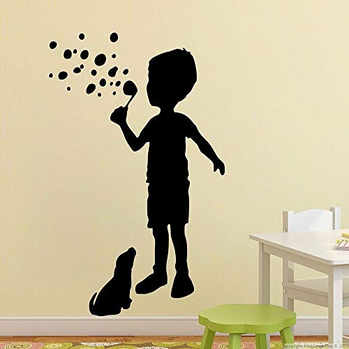 HGFDHG Calcomanías de Pared para niños y Perros niño soplando Burbujas Arte Mural Creativo Dormitorio para niños área de Juegos para niños decoración de Interiores Pegatinas de Vinilo