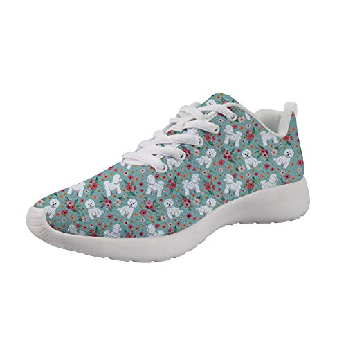 Showudesigns Bichon Frise Women's Fashion Sneakers Breathable Road Running Shoes for Teen Girls Outdoor Travel Walking