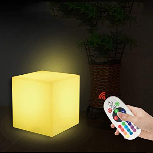 XHSHLID Verstelbare kubus van 10 cm met LED-nachtlampje 16 RGB 4 kleuren wisselende lamp voor bedlampje slaapkamer