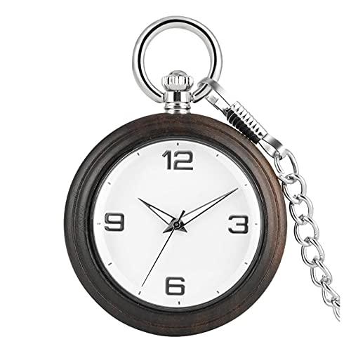 Reloj de Bolsillo y Cadena, dial árabe portátil dial de ébano Bolsillo Reloj Colgante de aleación, Mejores Regalos para Bodas (Color : A)