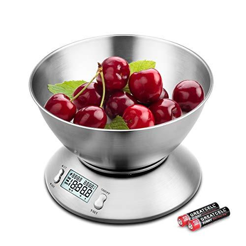 Uten Báscula Digital para Cocina con Bol Removible, 11 lbs / 5 kg, Acero Inoxidable, Retroiluminación Blanca, Alarma y Sensor de Temperatura, Pantalla LCD, (Baterías Incluidas)