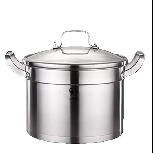 Olla grande de acero inoxidable 304 para sopa de inducción de gas para el hogar, olla de doble fondo para hacer sopa de 21 cm