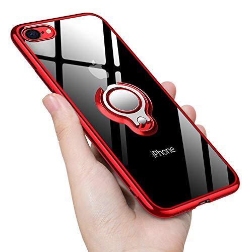 iPhone SE 2020 Hülle iPhone8 Hülle iPhone7 Hülle Silikon TPU Slim Case mit 360 Grad Ring Ständer Bumper Handyhülle Fingerhalter Magnetische Autohalterung Transparent Schutzhülle Cover für 4.7 Zoll,Red