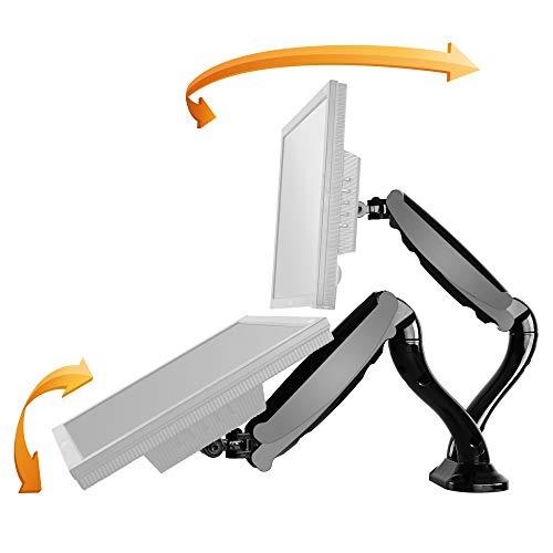 RICOO PC Monitor-Tisch-Ständer Bildschirm-Halterung 2 Monitore Schwenkbar Neigbar -TS6611- Universal für 13-27 Zoll (bis 6-Kg je Schwenk-Arm, VESA 100x100) Stand-Fuß Vollbeweglich