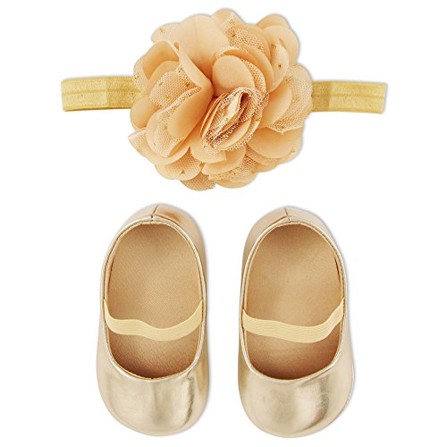ABG Accessories Baby Shoe and Headband Set, Gold, 6-12M