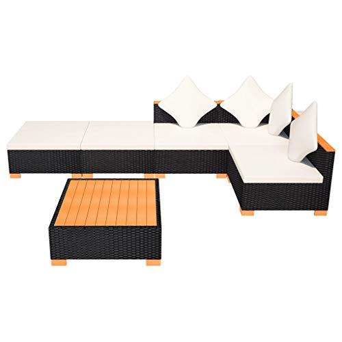 vidaXL Gartenmöbel 6-TLG. Poly Rattan Schwarz Sitzgruppe Lounge Gartenset Sofa - 6