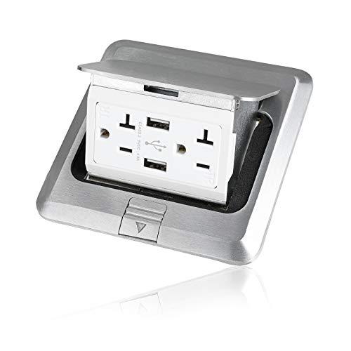 Vagueior Pop-Up Floor Box Kit, 4.8A USB Outlet, 20A Tamper-Resistant Receptacle Outlet, Corrosive Resistant Hardware, Silver