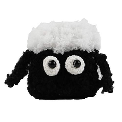 Hülle für Airpods 1 y 2 mit Silion Inneres & Crochet außen mit schwarzer Schaf