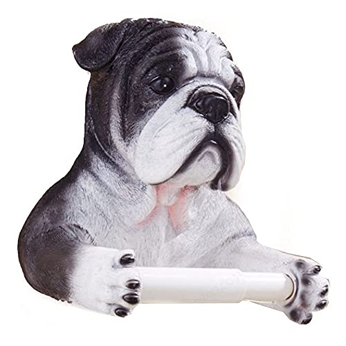 Mifty Toilet Paper Holder Funny Dog Design End Wall-Mounted Single Toilet Paper Roll Dispenser Bathroom Accessories Towel Rack Adhesive Toilet Paper Holder (Color : Black)