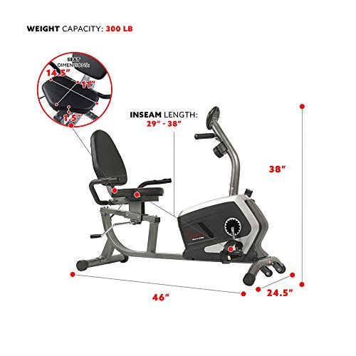 Sunny Health & Fitness Magnetic Recumbent Exercise Bike, Pulse Rate Monitoring, 300 lb Capacity, Digital Monitor and Quick Adjustable Seat | SF-RB4616