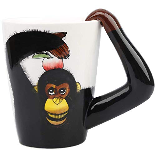 HapiLeap 3D Pure Hand-Painted Cute Animal Ceramic Coffee Mug Coffee Cup (Orangutang)