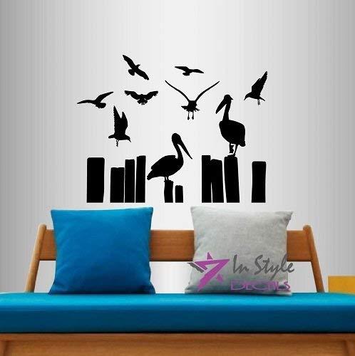 Lplpol muur Vinyl Decal Home Decor Art Sticker ooievaars zitten op palen vogels kamer verwijderbare stijlvolle muurschildering uniek ontwerp