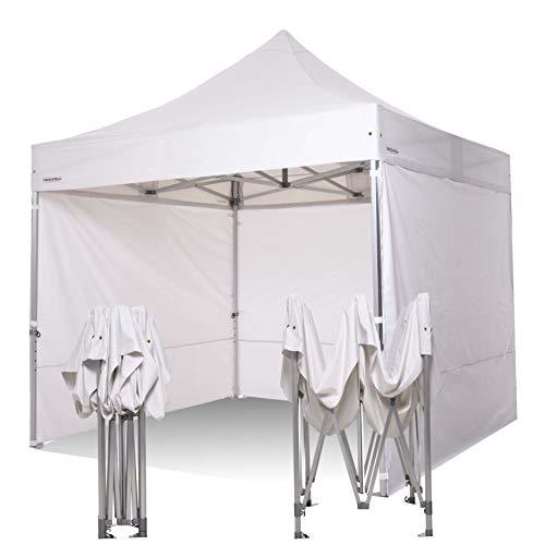 RAY BOT. Cenador 3 x 3 súper profesional de aluminio con vástago de 55 mm hexagonal. Tejidos 500 g metro de PVC. Homologado ignífugo y con certificaciones (lonas laterales incluidas, blanco).