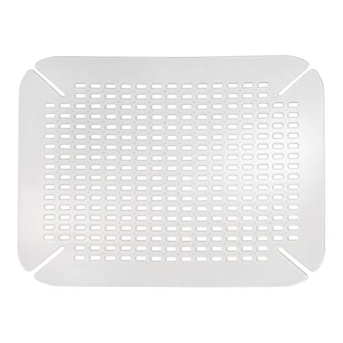 iDesign Spülbeckeneinlage, große Spülbeckenmatte aus PVC Kunststoff, Spülmatte mit Ablauföffnungen für Spüle und Waschbecken, durchsichtig