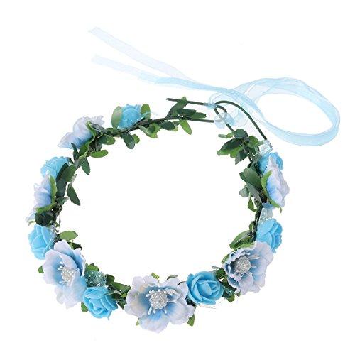 Frcolor Floral Haarbänder Boho Haar Kranz Hochzeit Braut Haarband Blume Kronen für Weihnachten Geburtstagsparty (blau)